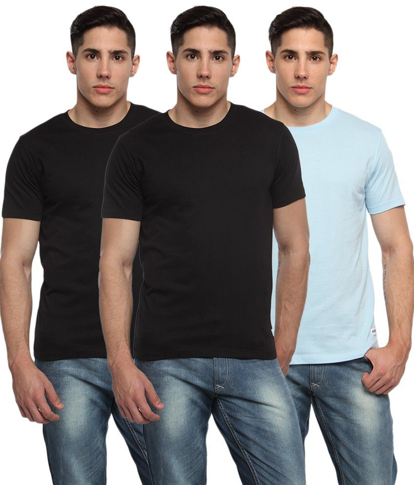 Adro Pack of 3 Black & Blue Round Neck T Shirts