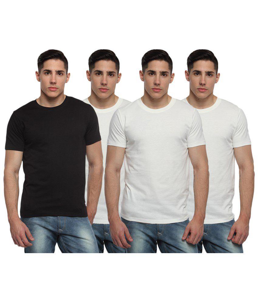 Adro Pack of 4 Black & White Round Neck T Shirts