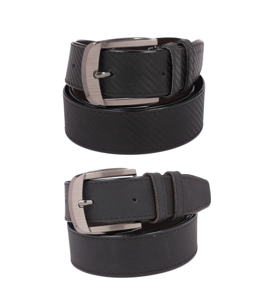 CALIBRO Men's Texture Black & Matte Black stylish Belt (Pack Of 2)