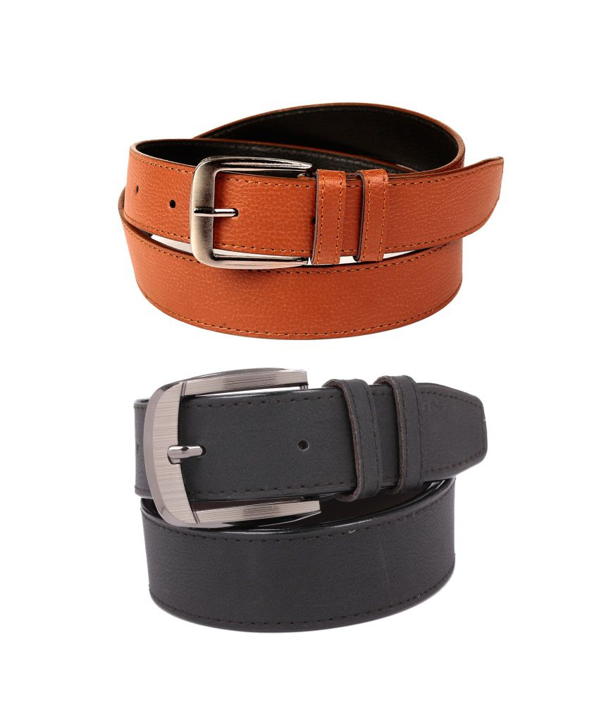 CALIBRO Men's Brazil Tan-brown & Matte Black stylish Belt (Pack Of 2)