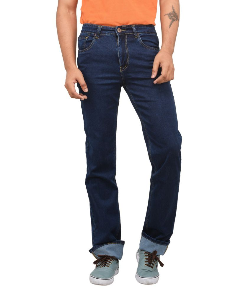 Concord Blue Cotton Blend Jeans For Men