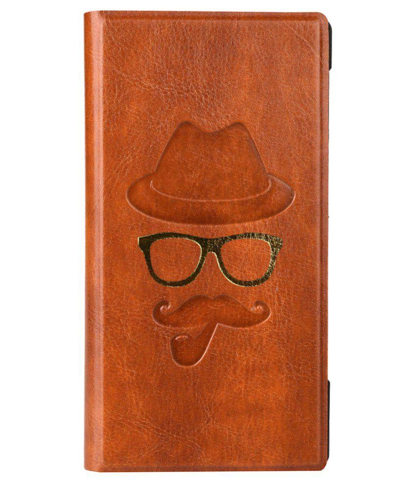 Jo Jo Moustache Series Leather Flip Case For Lenovo A916 Brown