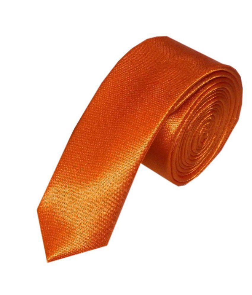 Navaksha Orange Satin Casual Thin Tie