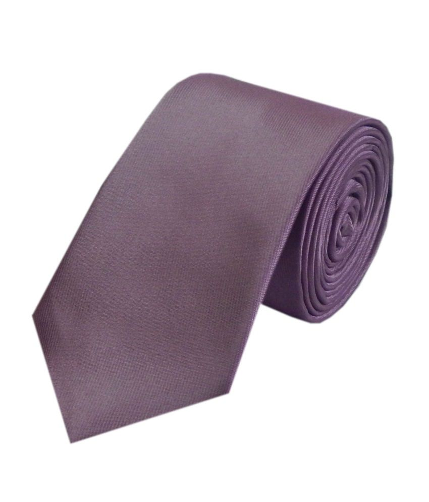 Navaksha Purple Satin Casual Skinny Tie