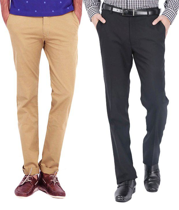 Ad & Av Pack Of Two Trouser (One Khakhi Stratacheable Lycra Cotton Trouser And One Black Premium Formal Trouser )