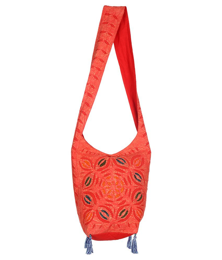 Rajrang Red Cotton Sling Bag