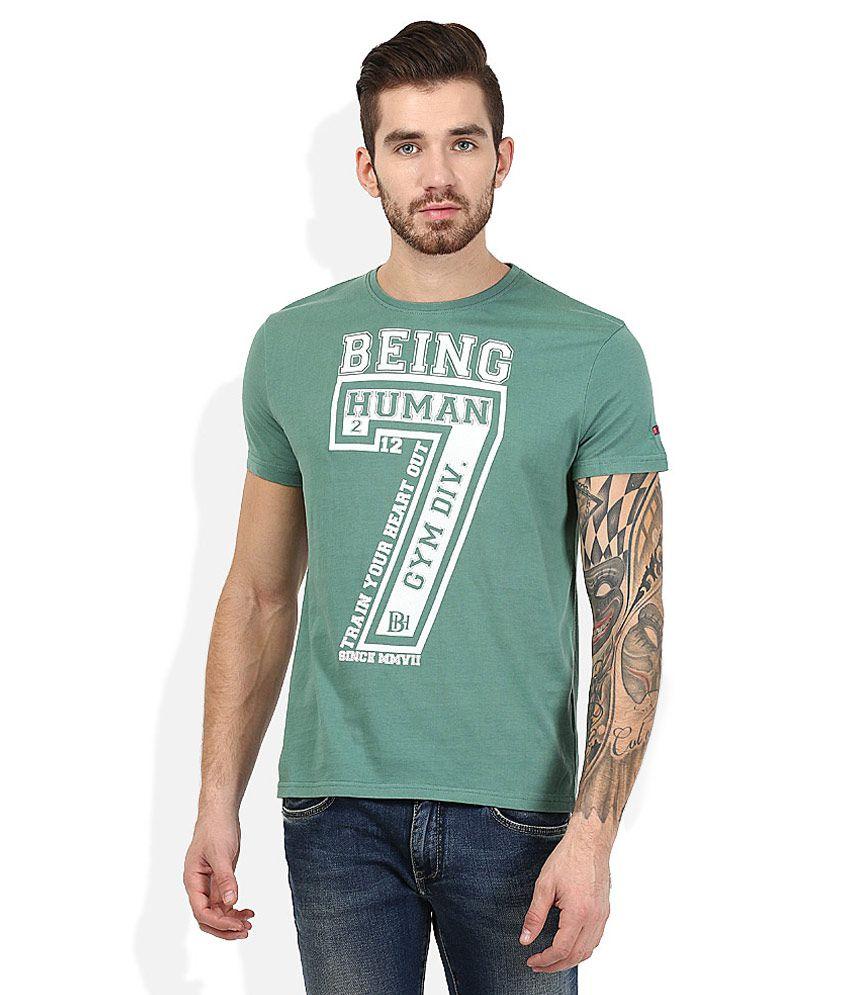 Being Human Green Round Neck Printed T-Shirt