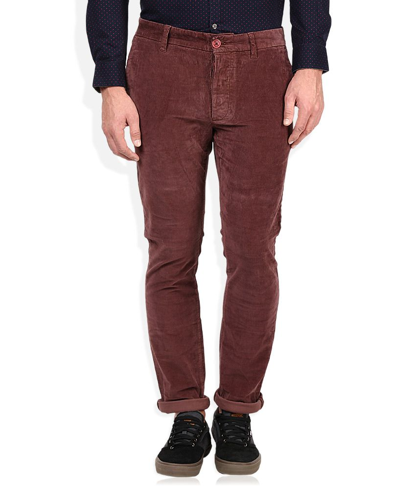 Being Human Maroon Solid Chinos