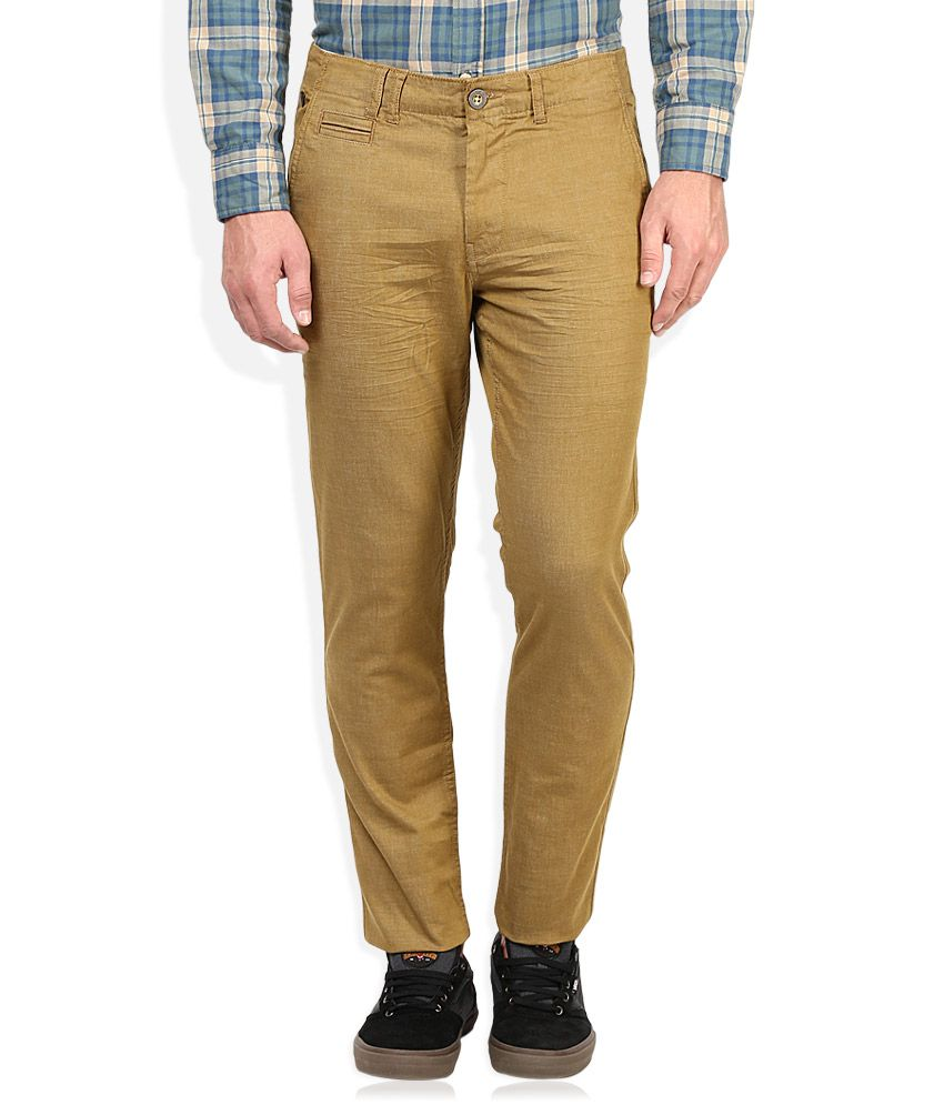 Being Human Yellow Solid Chinos