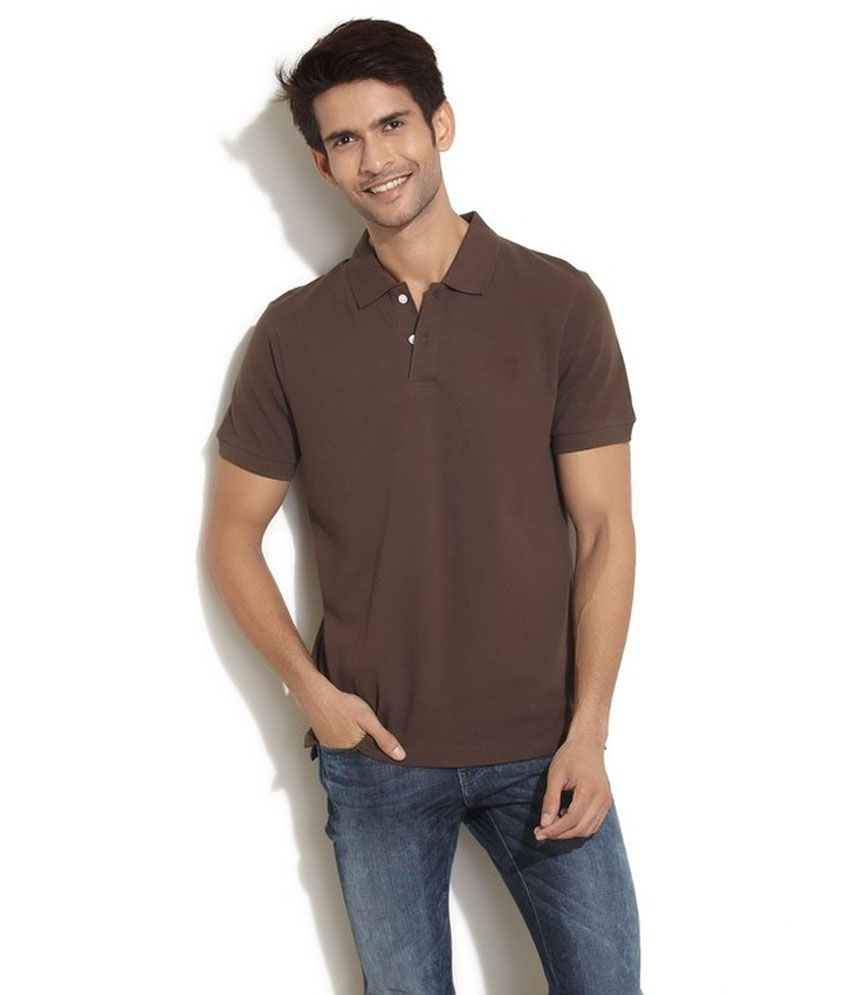 Soulfor Brown Half Sleeves Basic Polo T-Shirt