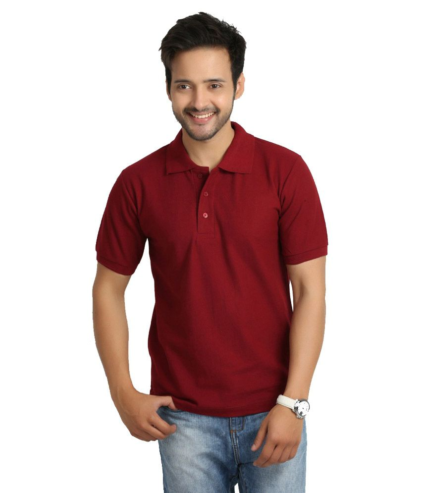 Soulfor Maroon Half Sleeves Basic Polo T-Shirt