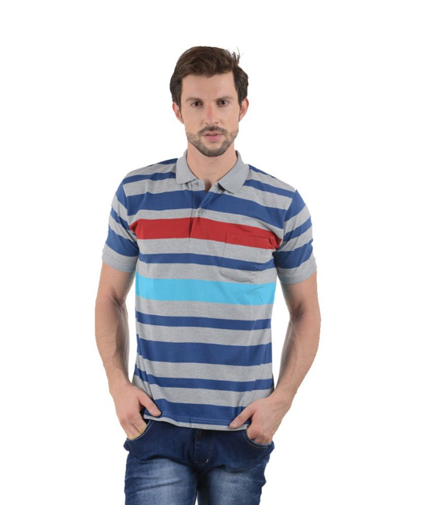 Tmo Grey Half Stripers Polo T-shirt