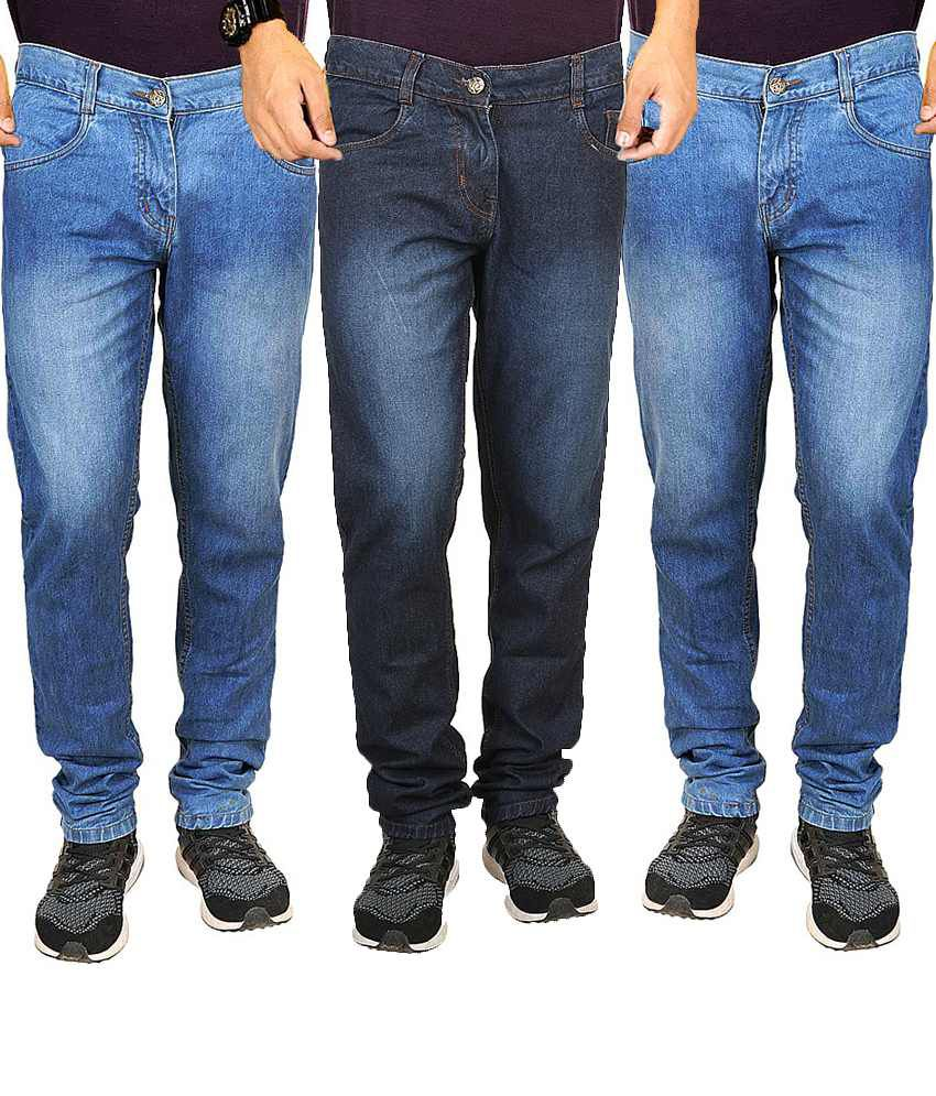 Masterly Weft Blue Regular Fit Jeans Pack Of 3