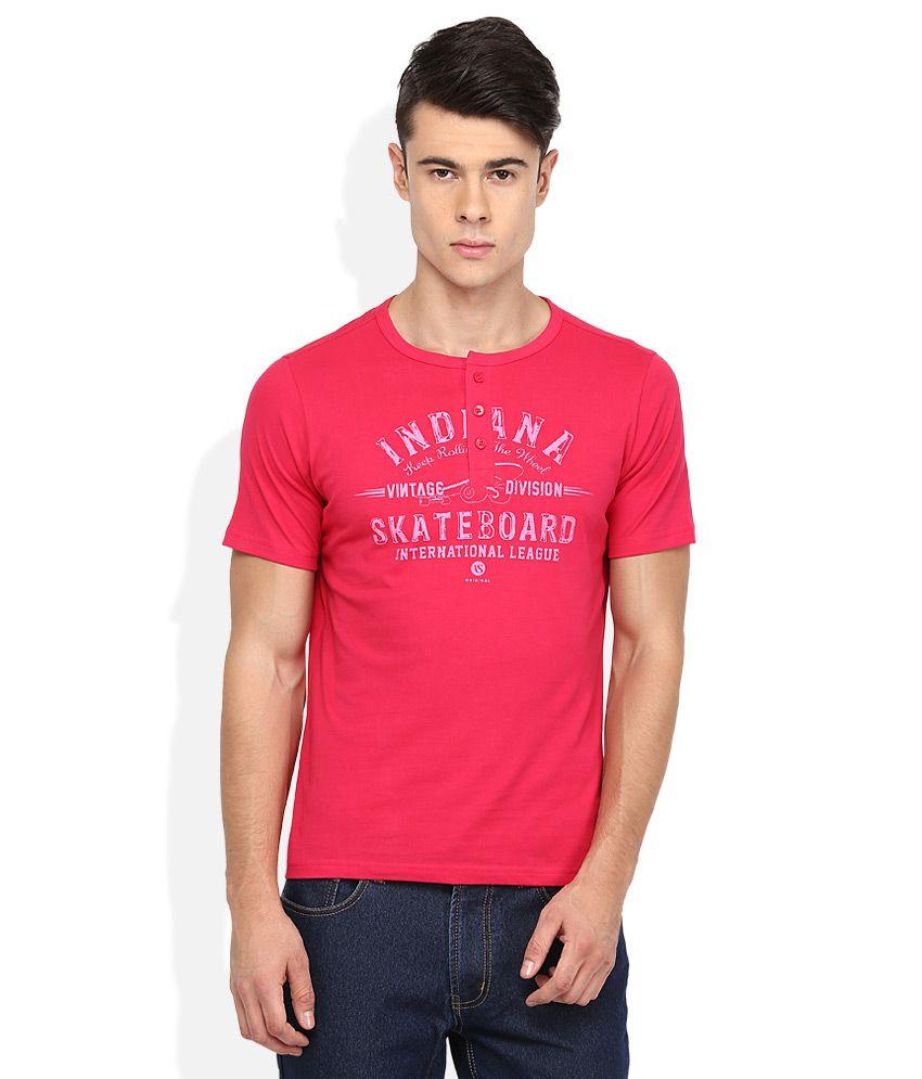American Swan Pink Round Neck Printed T-Shirt