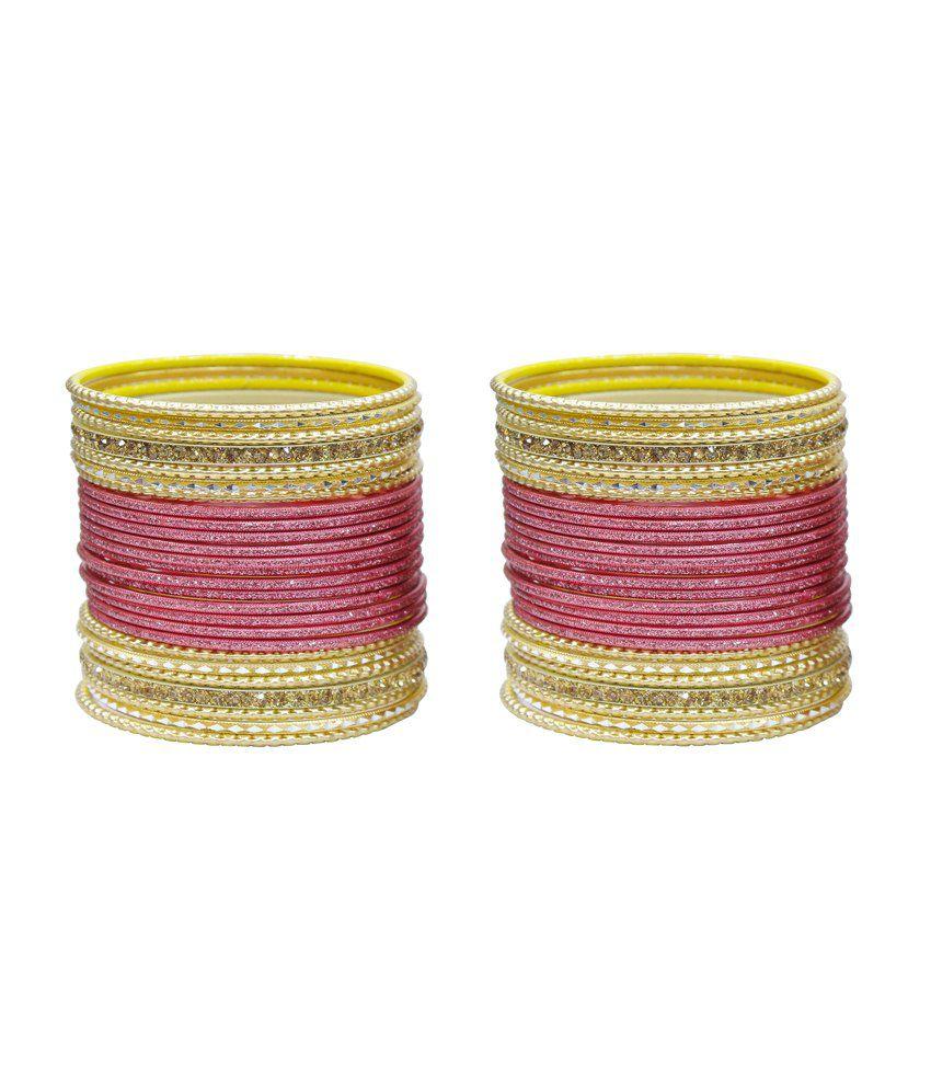 566ce5dd424 Much More Ethnic Traditional Design Pink Bangle Kada Set Indian Karwa  Chauth Jewelry Set Of 52: Buy Much More Ethnic Traditional Design Pink  Bangle Kada Set ...