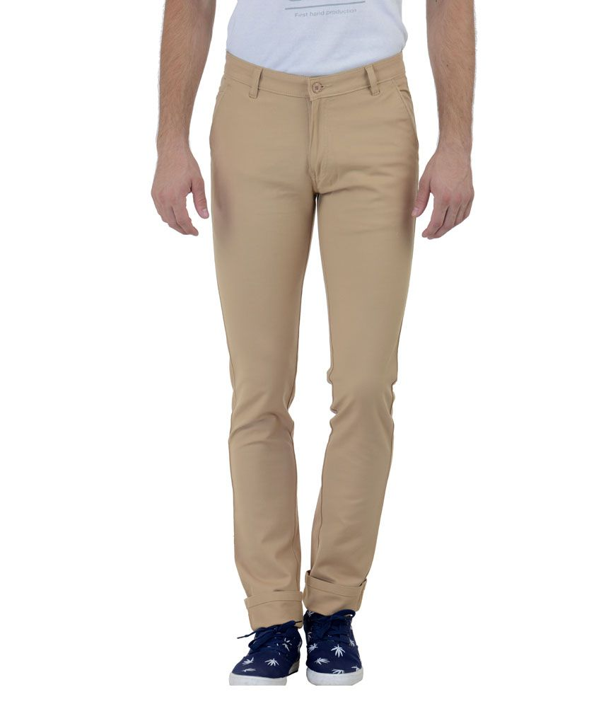 Cobb Khaki Slim Fit Casual Chinos Trouser