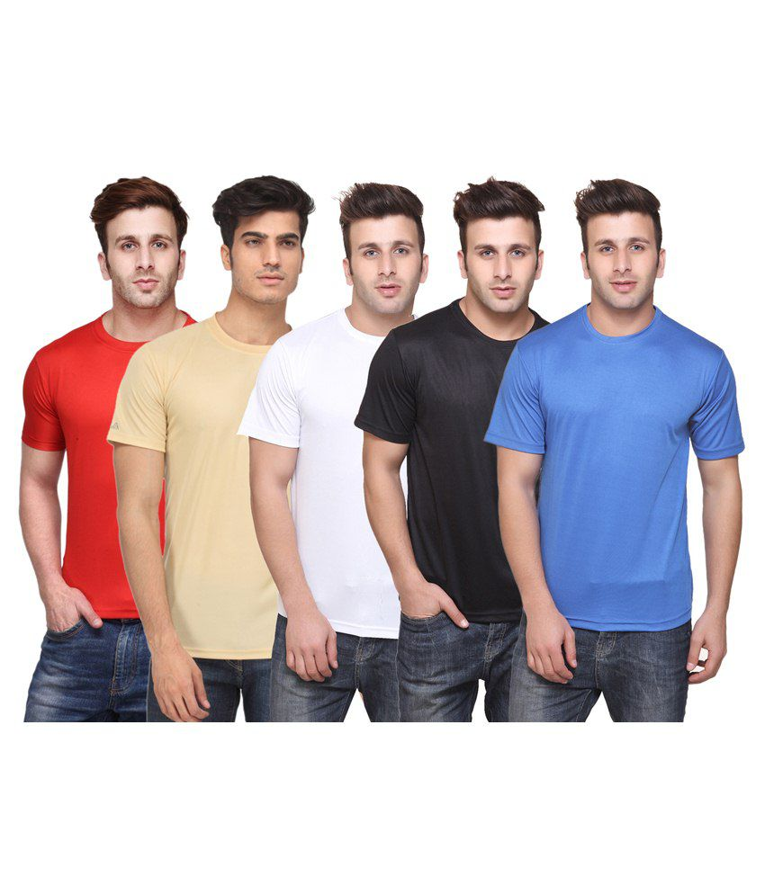 Funky Guys Multicolour Cotton Blend T Shirt Pack Of 5