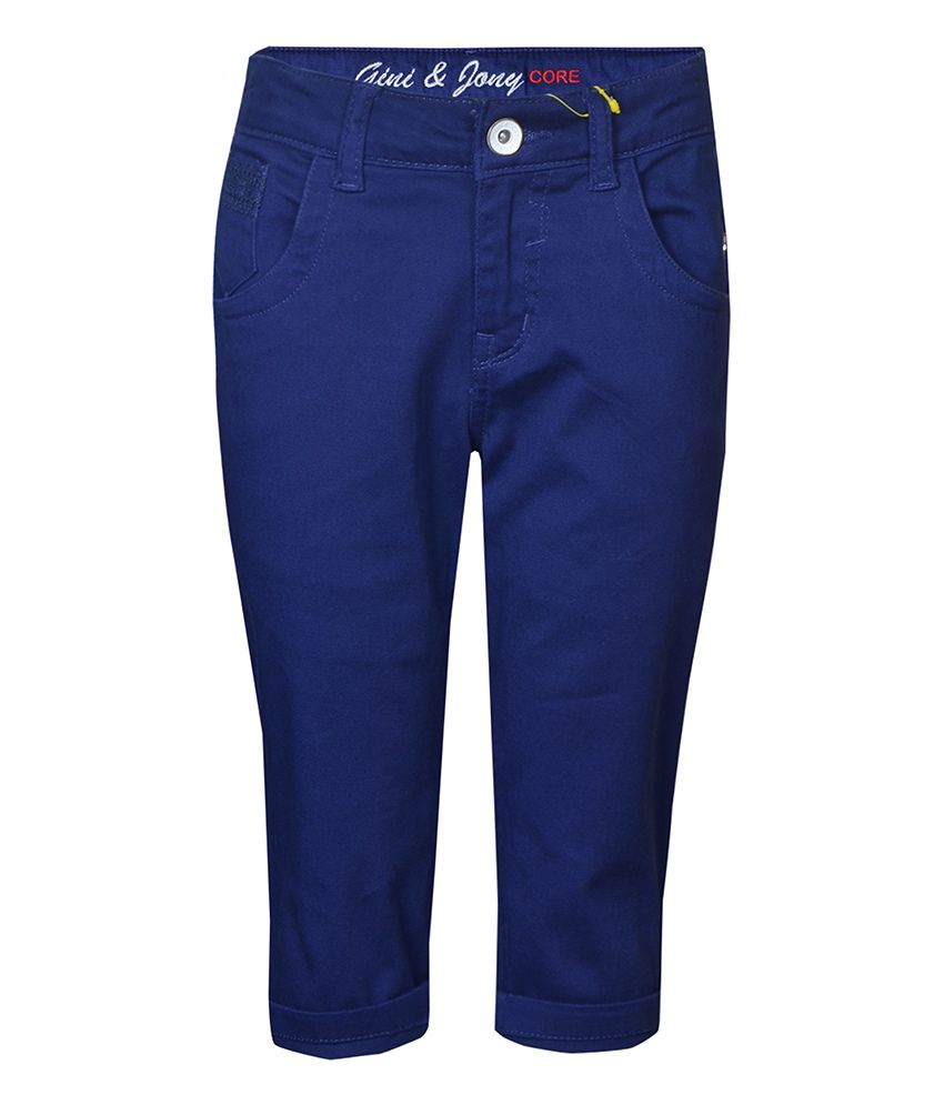 Gini & Jony Cotton Blend Dark Blue PEDAL PUSHER For Kids