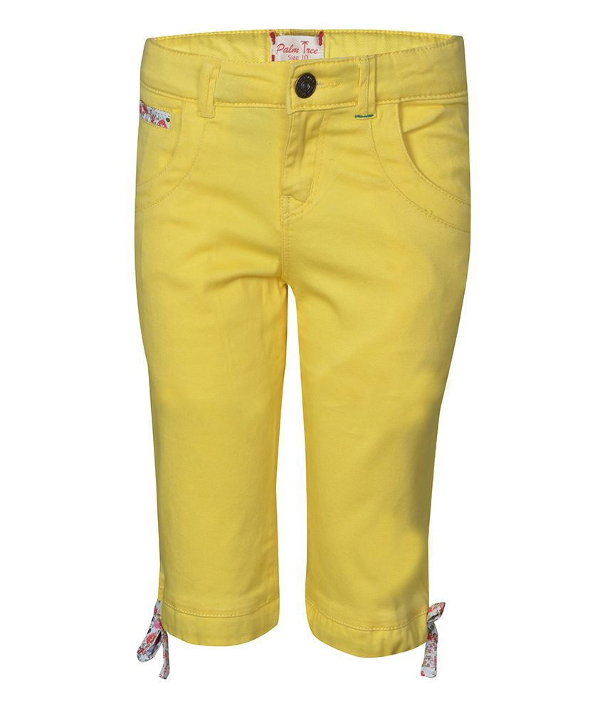 Gini & Jony Cotton Blend YELLOW PEDAL PUSHER For Kids