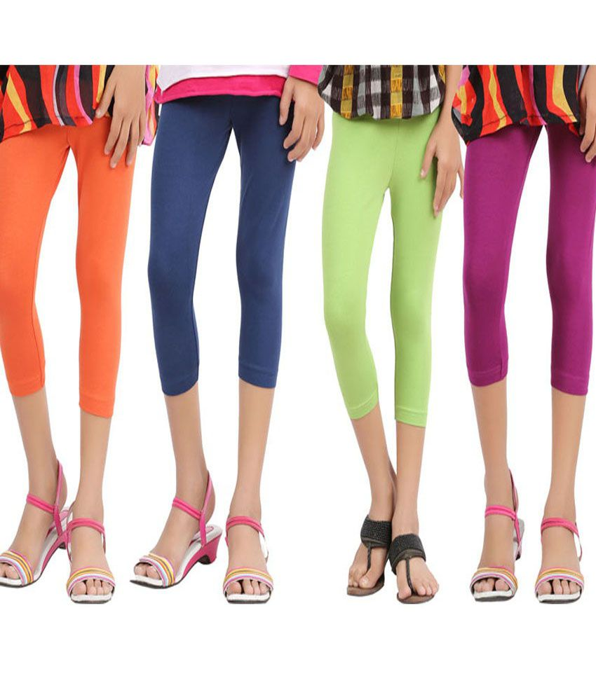 Greenwich Multicolor Cotton Capri Leggings For Girls  Pack of 4