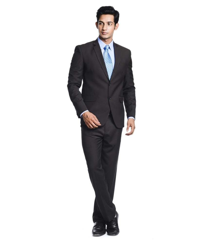 Pundir Trading Brown Cotton Blend Formal Wear Suit