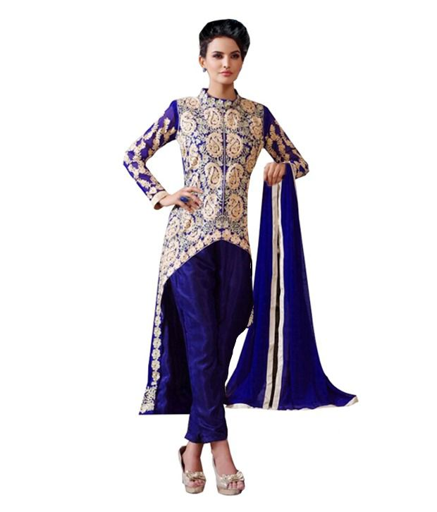 Risea Blue Georgette Straight Unstitched Dress Material