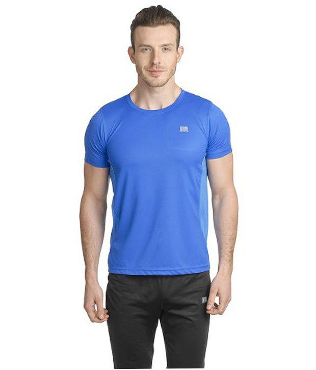 T10 Sports Blue Reflective Micro Fiber Crew Neck T-Shirt
