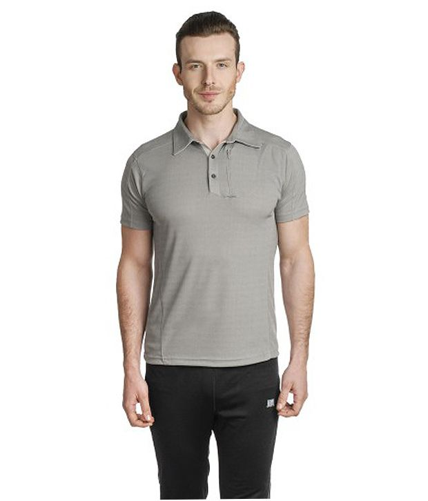 T10 Sports Gray Active Polo T-Shirt