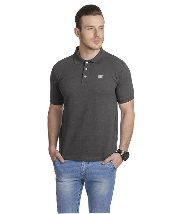T10 Sports Gray Stretch Polo T-Shirt