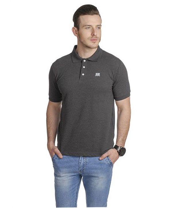 T10 Sports Gray Stretch Polo T-Shirt