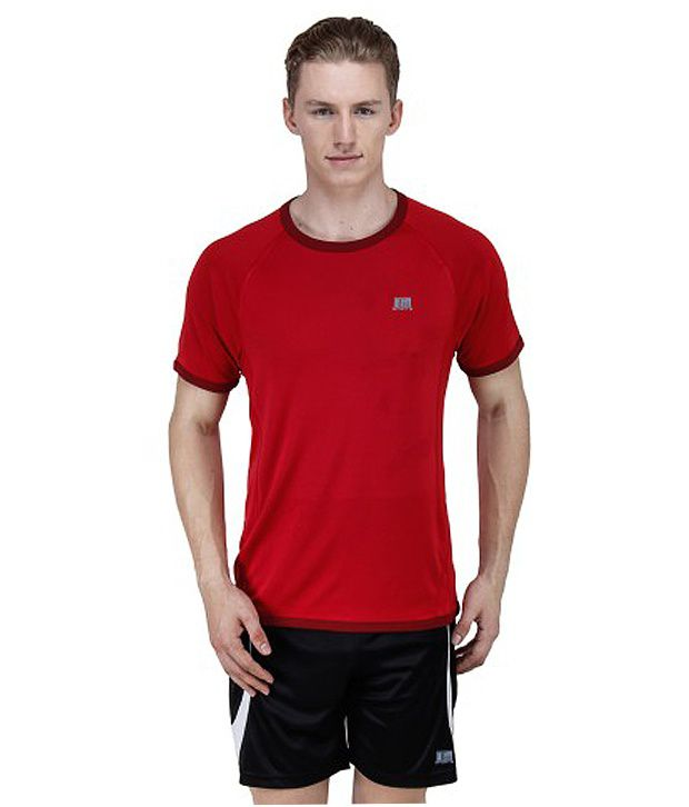 T10 Sports Red Bamboo Charcoal Crew Neck T-Shirt