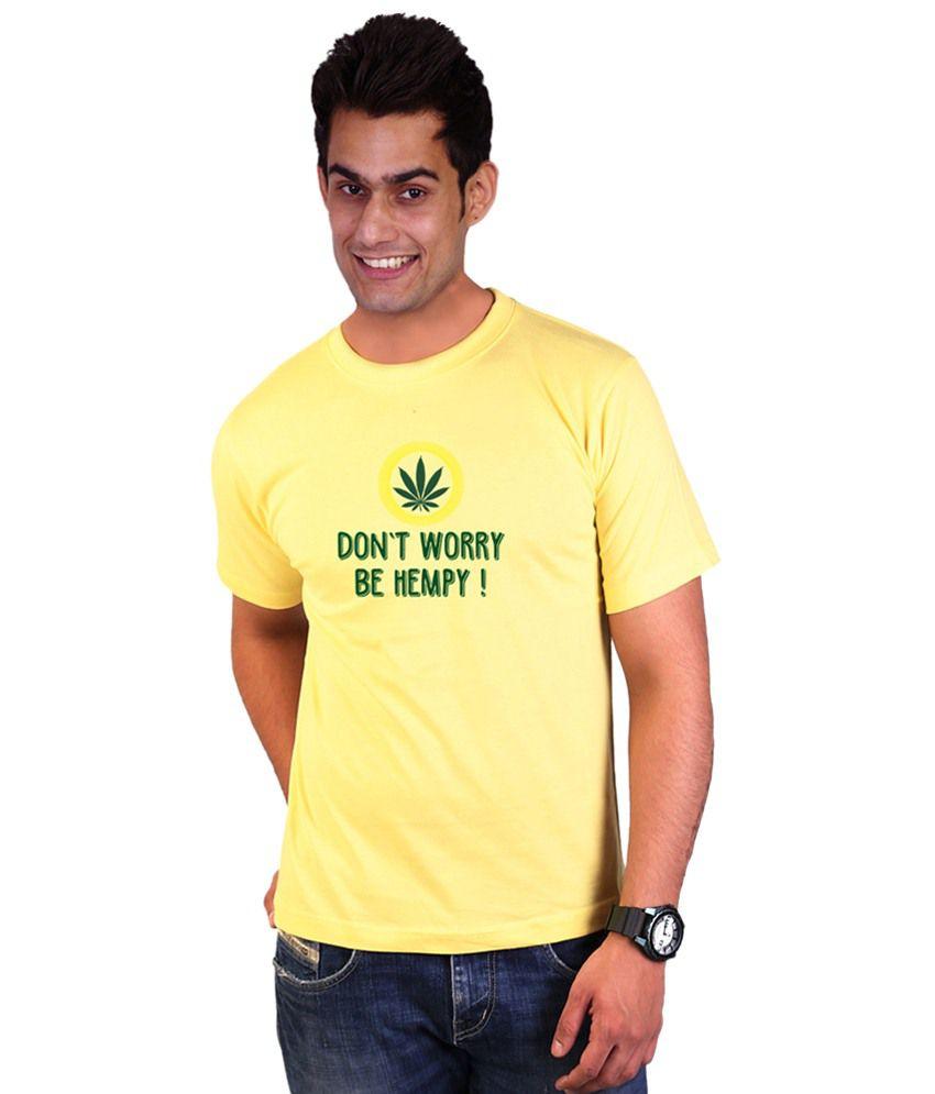 Wicked Bite Design Yellow & Green Round Neck Printed T Shirt