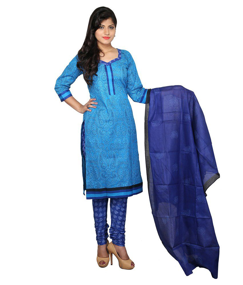 Trendmania Turquoise Cotton Unstitched Dress Material