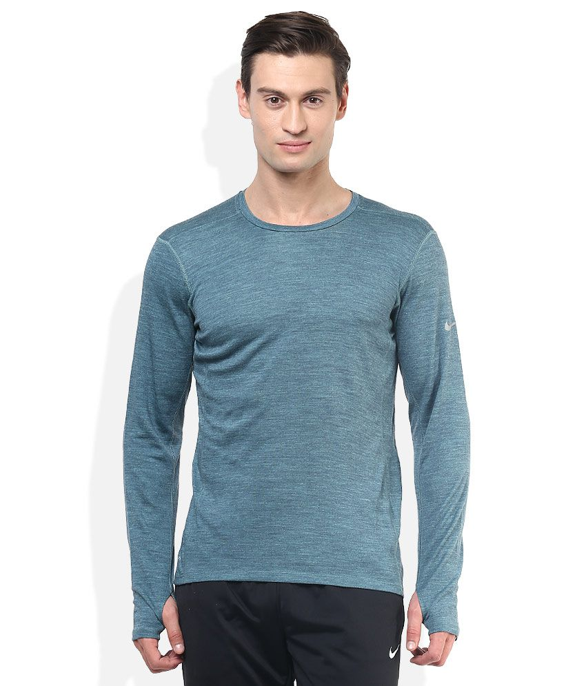 Nike green round neck full sleeves basics t shirt buy for Mens full sleeve t shirts online