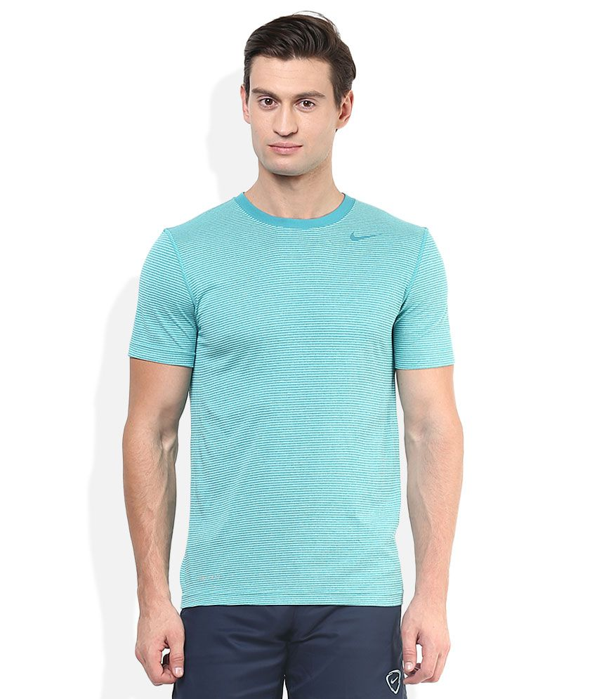 Nike Green Round Neck Half Sleeves Stripers T-Shirt