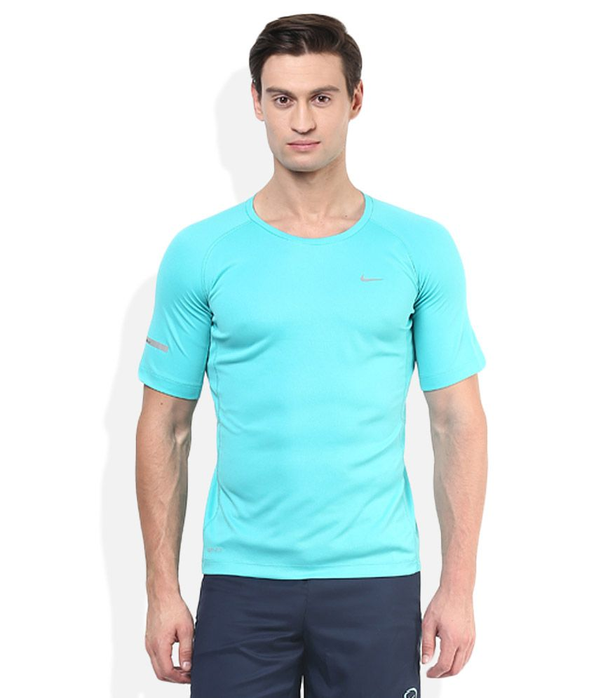 Nike Green Round Neck Half Sleeves Basics T-Shirt