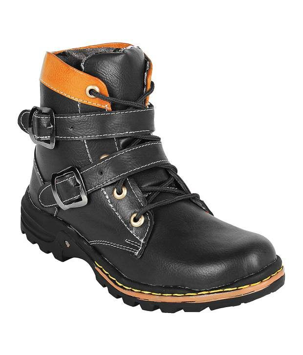 Stylos Black Double Buckle Boots