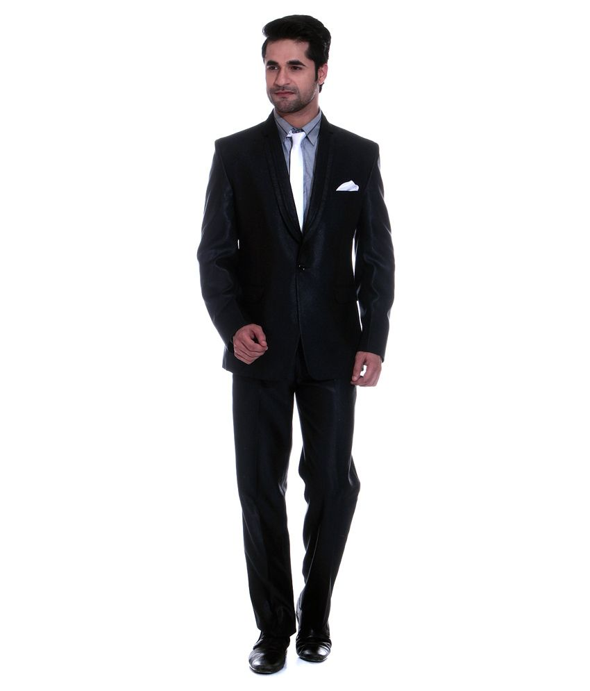 Tag 7 Black Poly Blend Formal Wear 2 Piece Suit
