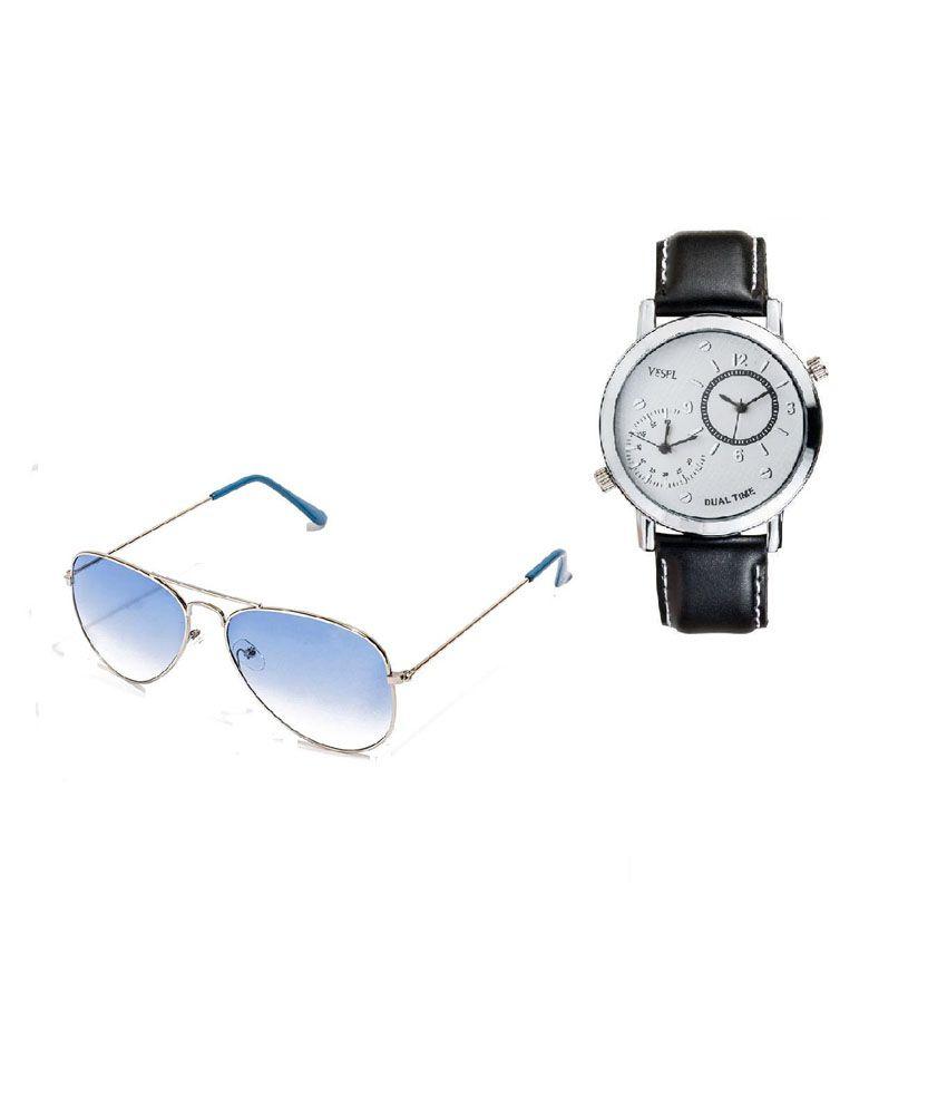 Vespl Blue Aviator Sunglasses with Watch Combo