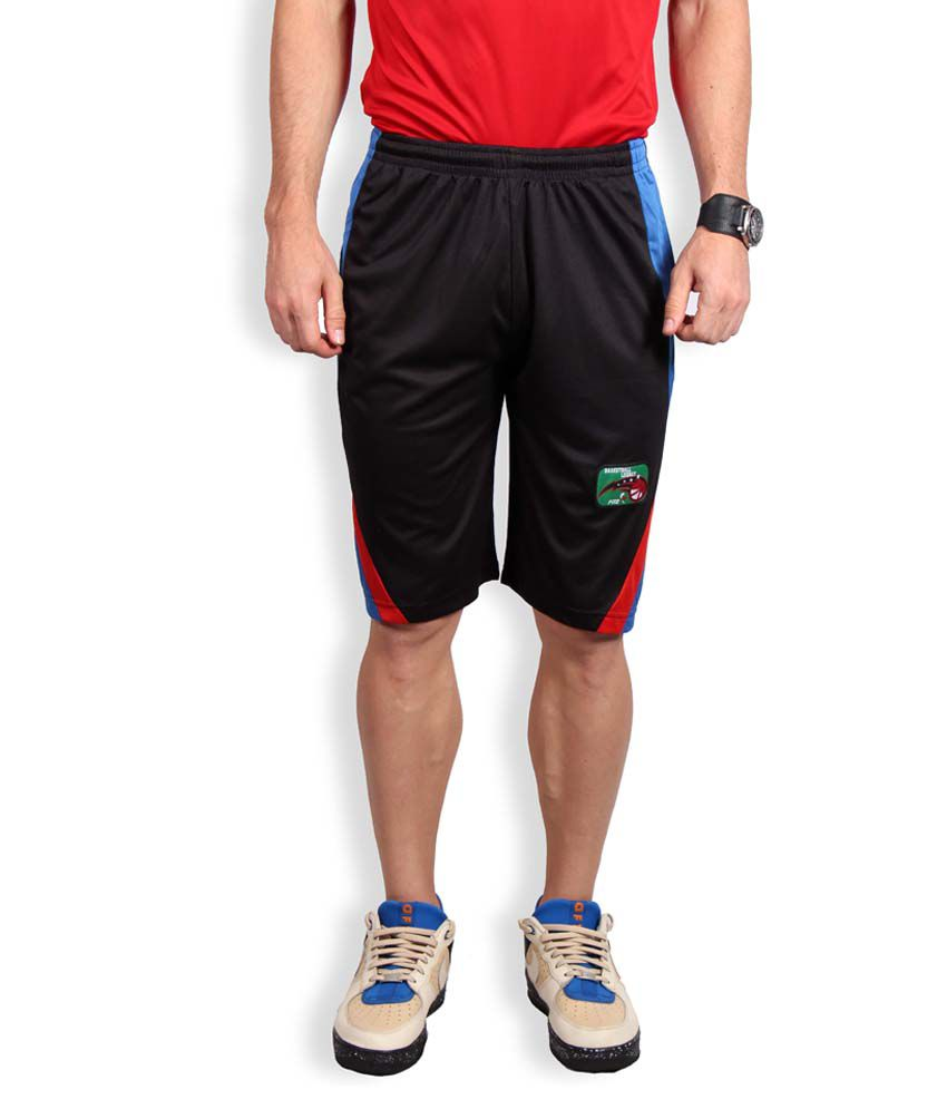 Fitz Black & Blue Polyester Solid Shorts