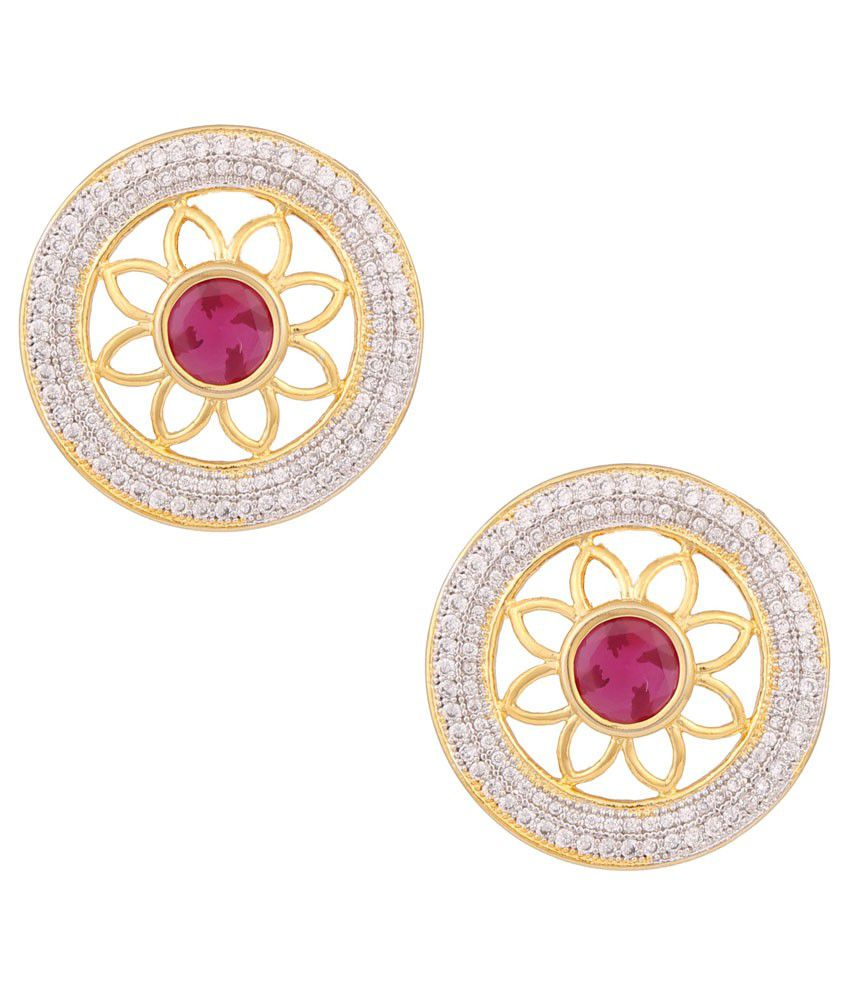 Glitter Bebe Golden Alloy CZ Stud Earrings