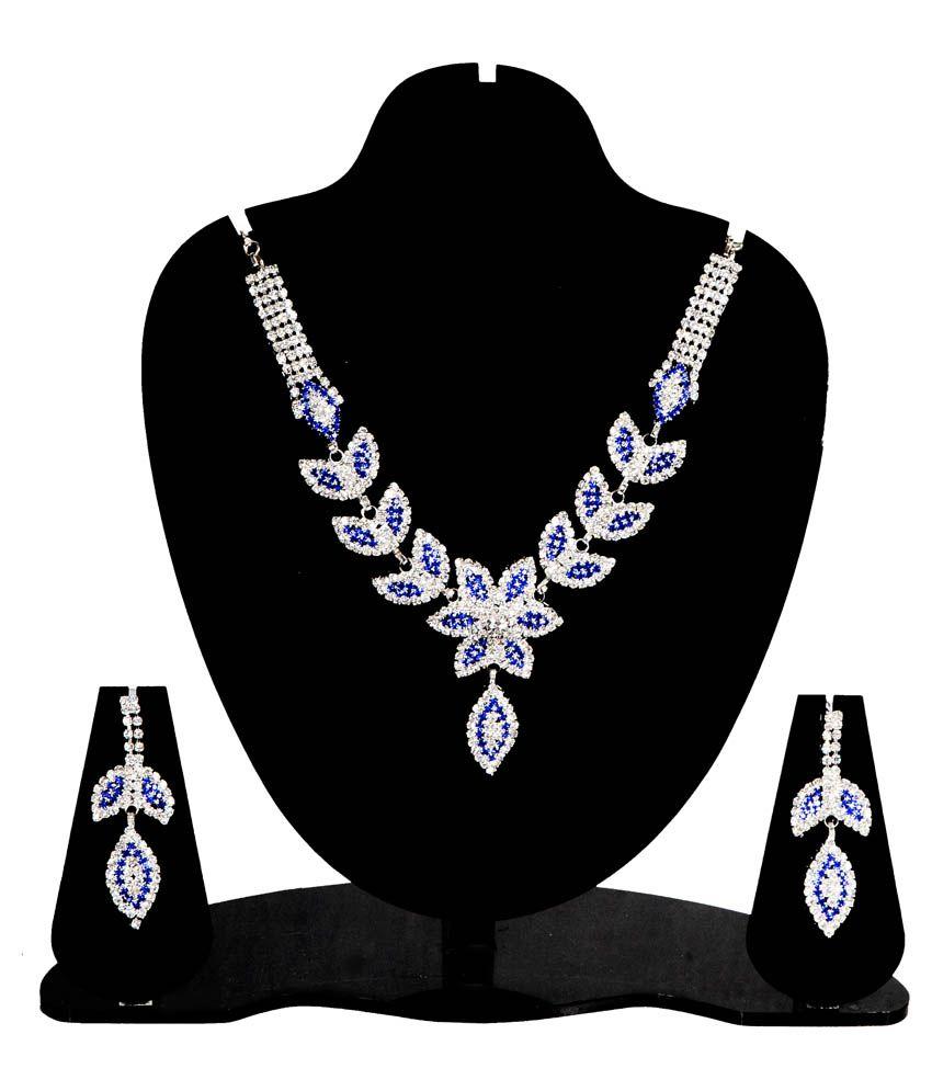 Jay Ambe International Silver Plated Diamond Necklace Set