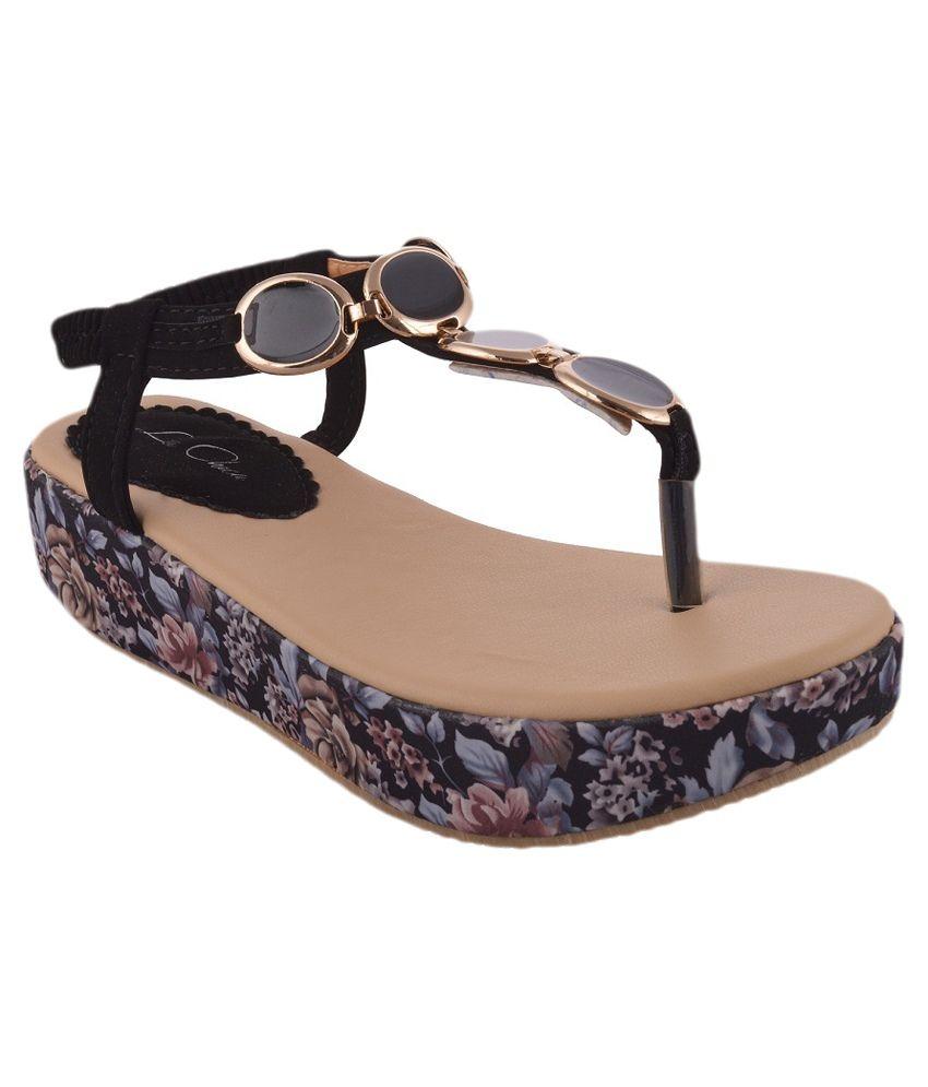 La Chica Black Platform Heel Sandals