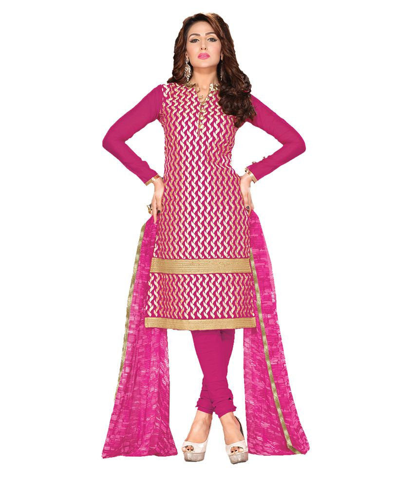 Apple Creation Pink Chanderi Unstitched Dress Material