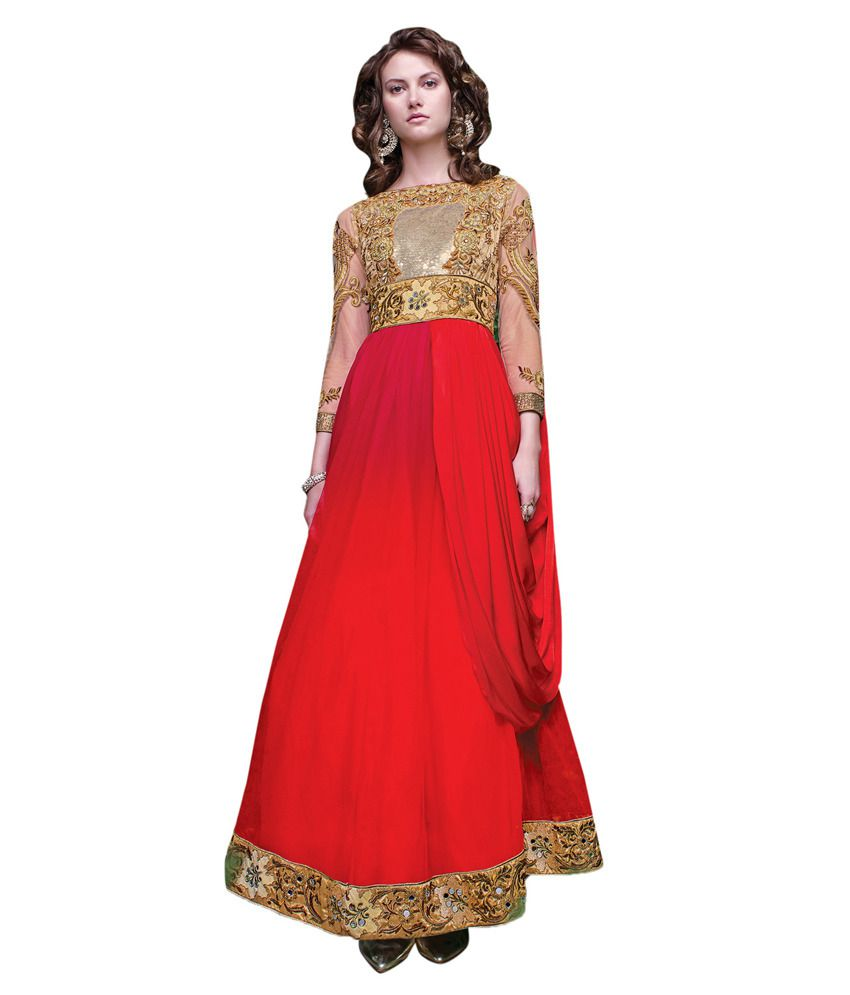 Apple Creation Red Net Semi Stitched Suit