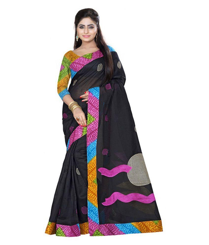 Fabdeal Black Cotton Saree