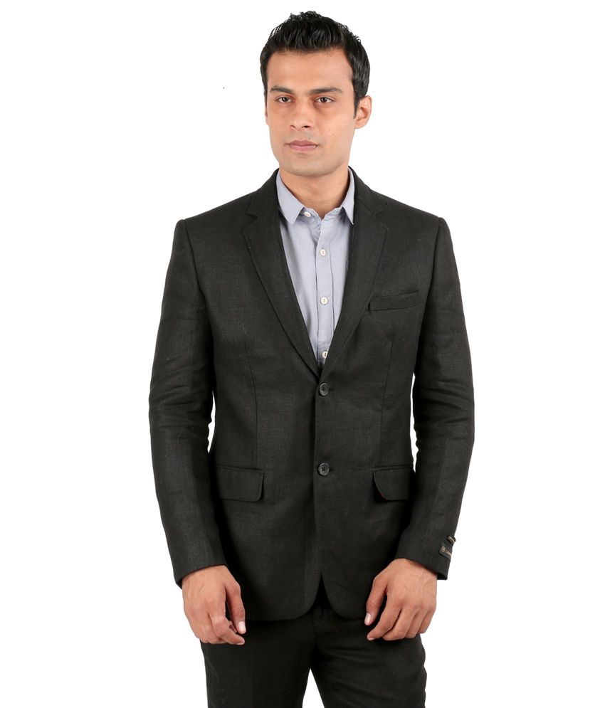 Jhampstead Black Solid Formal Suit