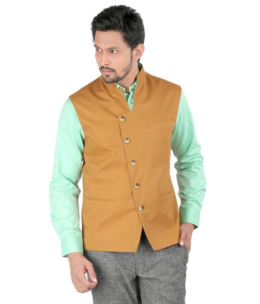 Oxemberg Brown 100 Percent Cotton Waistcoat
