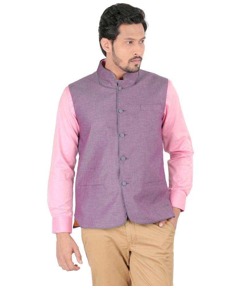 Oxemberg Purple Poly Blend Waistcoat