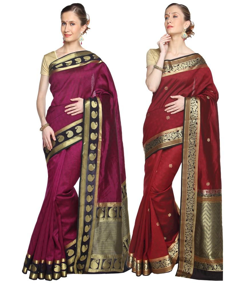 Reet Pack of 2 Pink & Maroon Plain Cotton Sarees with Blouse Pieces